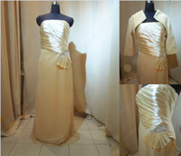 Wholesale Free Jacket Real Picture Champange Strapless Chiffon Ruffles Beaded Mother of The Bride Dress