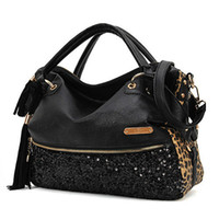 Wholesale women handbag tote lady sexy cool lux punk leopard sequin bag