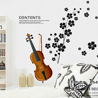 Graphic vinyl decorative glass art - 2013 Plum flower music violin sitting room sofa bedroom window glass TV vinyl wallpaper romantic wall art decorative sticker