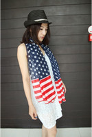 Wholesale scarves the United States flag the Stars and the Stripes Fashion USA American US Flag scarf fluffy scarf W13