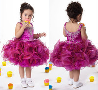 Beads Organza Knee-Length Sweet Fuchsia Cupcake Designer Pageant Dress for Girls Scoop Neck Ruffles Ball Gown Short Children Birthday Party Gown