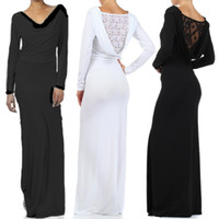 Sheath/Column Sexy Satin DRAPE Open LACE BACK Long Sleeve MAXI DRESS Jersey Stretch Wedding Cruise Travel