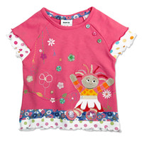 Wholesale Nova kid wear summer Baby girls in the night garden embroidered floral hem t shirt with stud
