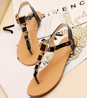Wholesale 108 women fashion new flat platform heel PU sandals T shape square metal bandages open toed sandals shoes