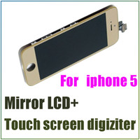 For Apple iPhone   New arrival mirror LCD touch screen digitizer for iphone 5 mirror plating replacement screen for iphone 5