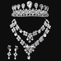 Wholesale 3pcs set elegant Style Wedding Bridal Jewelry set crystal rhinestone Tiara headpiece headdress necklace earrings js004