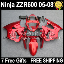 Wholesale 7 Free gifts For KAWASAKI ZZR600 NINJA C ALL Glossy red ZZR ZZR gloss red Fairings Kits