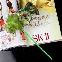 Wholesale 2012 new gold cloth coated flower side Venetian Mask Halloween Mask masquerade party mask on stick flower side By Hand
