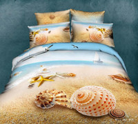 beach style bedding - Bed Sheet Hot Sale New Arrival D Reactive Shell beach blue sky Pieces Duvet Cover Sets Bedding