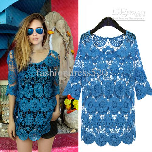 Latest Design Fashoin Top Short Sleeve Hollow Crochet Lace Blouse. Discount Latest Design Fashoin Top Short Sleeve Hollow Crochet