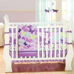 Wholesale New Appliqued Purple Butterflys Baby Cot Crib Bedding set for girl items includes Comforter Fitted Sheet Bumper Bedskirt