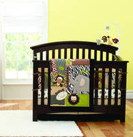Wholesale New Embroidered D Animals Brown Color Boy Baby Cot Crib Bedding Set items includes Comforter Bumper Fitted Sheet Skirt