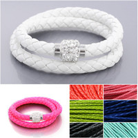 Wholesale PU LEATHER BRAIDED BRACELET DOUBLE WRAP Crystal Shamballa MAGNETIC CLASP Wristband Cuff CM Colors