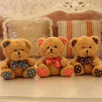 al por mayor los mini osos de peluche animales-18 cm mini peluche suave oso de peluche de juguete con la corbata de lazo(rojo, café, azul), 7'' de la felpa de los niños juguetes para la promoción de regalo de 3 piezas/conjunto