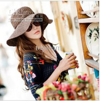 Khaki Cowboy Woman 2013 new arrival coffee color fashion foldable women beach straw hats ,5 pcs lot,freeshipping