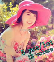Wholesale 12 colors can choose freeshipping straw sunhats for female fashion beach sunhats