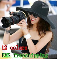 Wholesale 20 EMS freeshipping wde brim Floppy beach sunhats straw summer hat for women