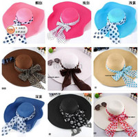 Red straw hats for women - 12 colors mixed EMS freeshipping Wide Brim Floppy Beach Sun hats straw hat for women