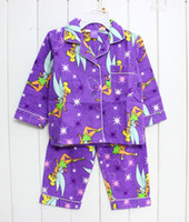 Girl Summer 2,3,4,5,6,8T 2013 free shipping children tinkerbell girl girls long sleeved pajamas pyjamas top + pant flannel flannelette winter pyjamas pajamas pjs