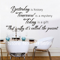 Wholesale YESTERDAY IS HISTORY Wall Quote Wall Sticker Wall Stickers Quotes Decals Murals Top Me