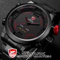 Wholesale Fashion SHARK Analog Digital LED Stainless Steel Black Red Date Day Alarm Men s Outdoor Sport Quartz Wrist Watch SH105