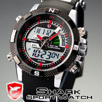 alarm box battery - SHARK LCD Analog Dual Time Date Alarm Stainless Steel Rubber Band Mens Red Sport Quartz Wrist Watch with Original Box SH043