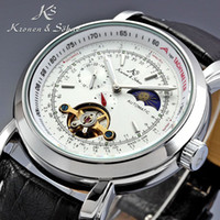 Wholesale KS Tourbillon Elegant White Dial Moon Phase Automatic Mechanical Black Genuine Leather Band Men s Wrist Dress Watch Box HK Post KS069
