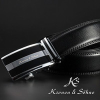 Wholesale Free Shipment KS Mens Slide Automatic Steel Lock Buckle Black Real Genuine Leather Belt