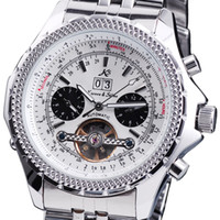 Dress Men's Day/Date Classic KS Tourbillon Silver Stainless Steel Metal Buckle Band Men's Automatic Mechanical Date White Sport Wrist Watch KS010