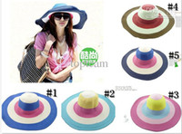 Wholesale 5 colors Beach Sun cap Straw hats Fashion womens Fedoras Wide Large Floppy Brim Summer hats