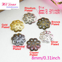 Valentine's Day rhodium plated jewelry - 8mm Bead Caps Iron Metal Flower Shape Gold Silver Rhodium Bronze Black Plated Fashion Jewelry Making Findings Jewellery DIY Accessories