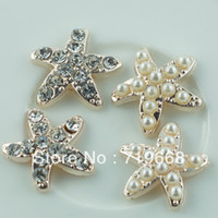 Wholesale LO MM starfish rhinestone button pearl wedding Invitation embellishment Scrapbooking Napkin Ring