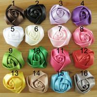 Wholesale cm colors satin rolled rosette rose handmade flower for hair ornaments garments DIY accessory