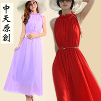 Chiffon Halter Ankle Length Stand collar chiffon one-piece dress slim gentlewomen long elegant design full dress expansion sleeve length skirt one-piece