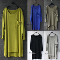 Women Round Fashion Tee New Fashion Womens Loose Oversized Modal Draped Long T-shirt Tee Asymmetric Hem Tops Free Shipping