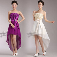 asymetric dress - 5 colors New Women Girls Floral Asymetric Hem Strapless Party Dress Bridesmaid Cocktail Wedding Formal Prom Evening Dresses