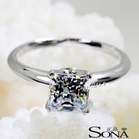 Wholesale Genuine SONA diamond drill one karat silver three generations PT950 diamond ring princess diamond ring silver minimalist female