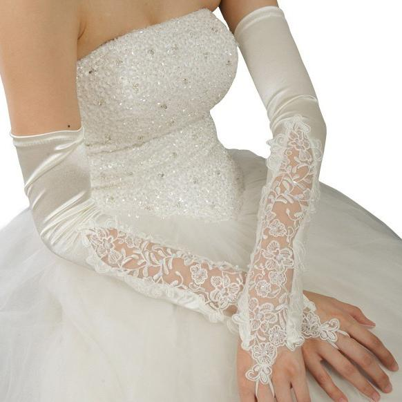 Hot long lace dress gloves red ivory white 2013 beaded for Wedding dress with long gloves