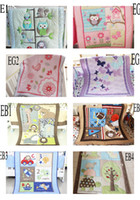 Wholesale New Embroidered D Animals Flowers Birdie Owlet Butterfly Designs Baby Comforter Toddler Learning Quilts for Baby Crib Cot Bedding