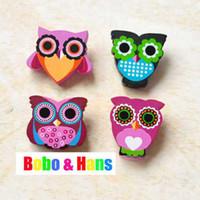 Wholesale New cute cartoon owl wooden pin Brooch clips