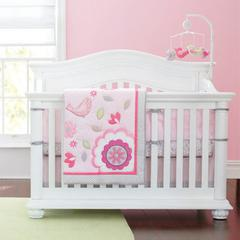Wholesale New Appliqued D Pink Birdie Flower Baby Cot Crib Bedding set for girl items includes Comforter Fitted Sheet Bumper Bedskirt