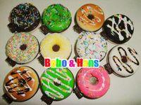 Wholesale Cute cartoon Donut squishy charm L pocket cosmetic mirror mobile pendant Strap