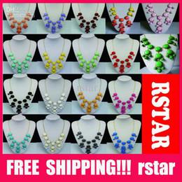 Wholesale New Women resin gem Bubble Bib Statement Fashion Necklace Colors mix color hot sale XL10