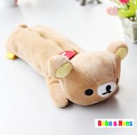 Wholesale New cute Rilakkuma style plush Pencil bag pen case Cosmetic bag pouch