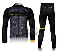 Wholesale Livestrong team cycling jerseys sets cycling clothing long sleeve and pants Outdoor bicycle clothing men bike clothing Pro cycling wear
