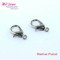 Wholesale Lobster Clasps Hooks Rhodium Sterling Zinc Alloy Metal Claw Clasp Jewelry DIY Finidngs Jewellery Making Accessories mm