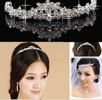 Wholesale elegant Wedding Bridal prom Jewelry crystal Tiara headpiece headband headwear hairwear floral headdress belly dance hair accessories wh016h