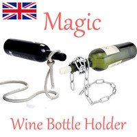 Metal wine holder - 100pcs Magic Chain Lasso Rope Wine Bottle Holder Floating Illusion Rack Stand Art Gift for Party for Wedding for Him