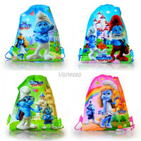 Wholesale New arrival Mixed styles THE SMURFS Non woven Kid s School bag Shortcake Cartoon Drawstring Backpack bags Party gift kids favor