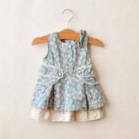 Cotton Blends A-Line Knee-Length Fashion Bowknot Princess Dress Children Clothing Lace Dresses Layered Dress Baby Flower Dresses Jumper Skirt Kids Clothes Girls Cute Dresses